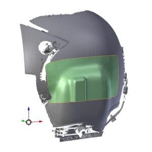 Modellazione di superficie su scansione Laser 3D per attacco da realizzare in carbonio su casco pilota di elicottero relativo al progetto HBS, sistema anticervicale per piloti di elicottero[/caption] realizzato poi in fibra di Carbonio